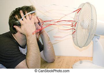 hombre, y, ventilador