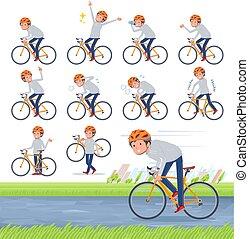 hombres, bicicleta, foodie, camino, ropa de deporte, gris, ...