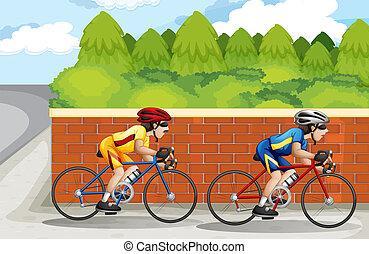 hombres, biking, dos