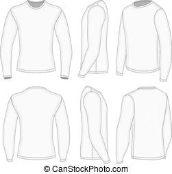 hombres, blanco, manga larga, camiseta