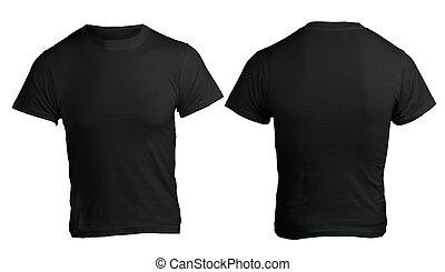 hombres, camisa negra, plantilla, blanco