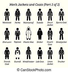 hombres, coats., chaquetas