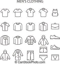 hombres, colección, tipo, ropa de calle, conjunto, iconos, ropa, línea, señales, prendas, -