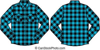 hombres, comprobado, camisas