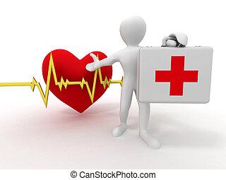 hombres, con, médico, caso, y, latido del corazón