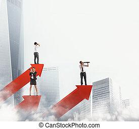 hombres de la corporación mercantil, en, flechas, estadística, buscar, business., 3d, interpretación