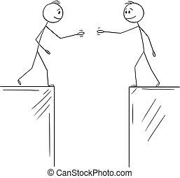 hombres de negocios, cuándo, yendo, vector, golfo, deal., políticos, ilustración, manos, o, sacudida, caricatura, dos, chasm.concept, hombres, dividido, acuerdo, cooperación