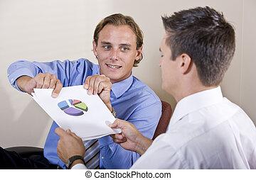 hombres de negocios, discutir, financiero, resultados