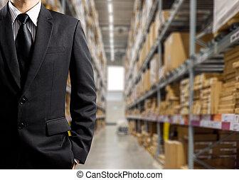 hombres de negocios, en, almacén