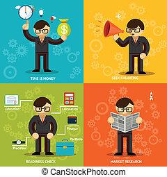 hombres de negocios, iconos, fondos, coloreado, variedad