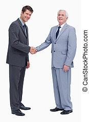 hombres de negocios, lado, manos, vista, sacudida
