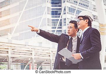 hombres de negocios, planificación, construcción, proyecto
