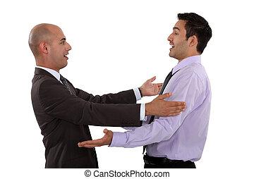 hombres de negocios, se abrazar