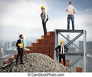 hombres de negocios, trabajo, juntos, para construir, un, edificio