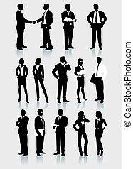 hombres de negocios, y, mujeres, vector, siluetas, conjunto