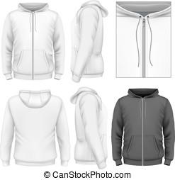 hombres, diseño, cremallera, hoodie, plantilla