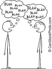 hombres, dos, conversación, blah-blah, discurso, burbujas, caricatura