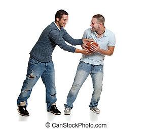 hombres, dos, fútbol