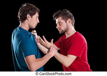 hombres, durante, lucha