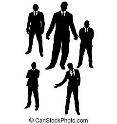 hombres, en, suits.