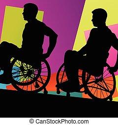 hombres, en, un, sílla de ruedas, incapacitado, salud...