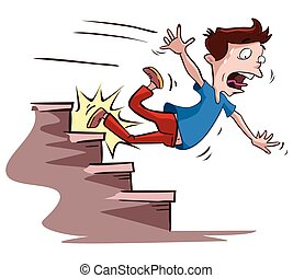 hombres, escaleras, slipped