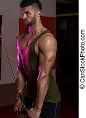 hombres jóvenes, hacer, ejercicio, para, tríceps