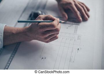 hombres, manos, con, herramientas, primer plano
