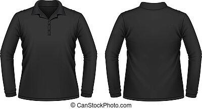 hombres, negro, manga larga, camisa