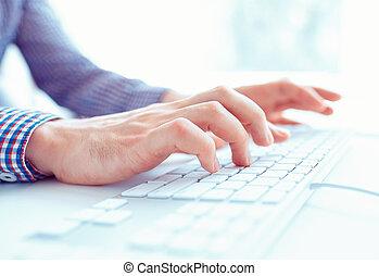 hombres, oficina, teclado, Manos, trabajador, mecanografía, macho, o