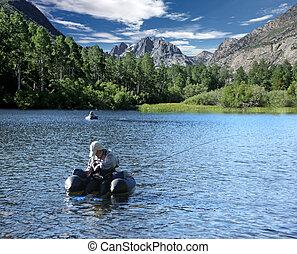 hombres, pesca, en, el, sierra, montañas