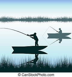 hombres, pesca, en, lago, de, barco