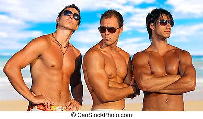 hombres, playa, relajante