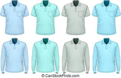 hombres, polo-shirt., blue., sombras