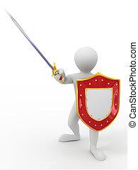 hombres, protector, espada