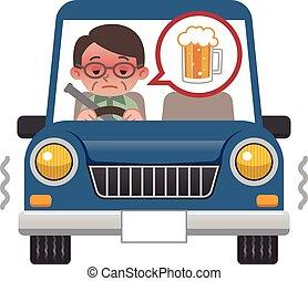 hombres, quién, bebida, conducción