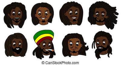 hombres, rastafarian, caras