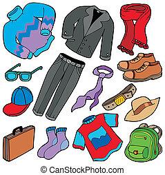 hombres, ropa, colección