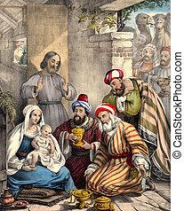 hombres sabios, jesús, regalos, traer, bebé