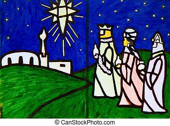 hombres sabios, tres, escena, natividad, ilustraciones