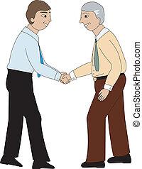 hombres, sacudida, dos manos