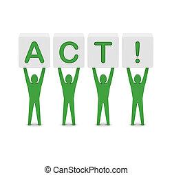 hombres, tenencia, el, palabra, act., concepto, 3d, illustration.