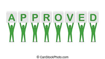 hombres, tenencia, el, palabra, approved., concepto, 3d, illustration.