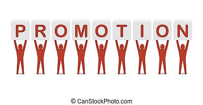 hombres, tenencia, el, palabra, promotion., concepto, 3d, illustration.