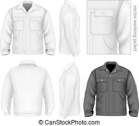 hombres, trabajo, jacket.