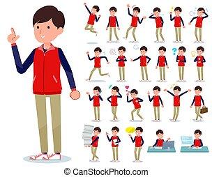 hombres, uniforme al personal, tienda, emoción, plano, rojo, tipo