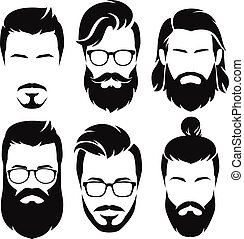 hombres, vector, collection., hipsters, illustration., caras