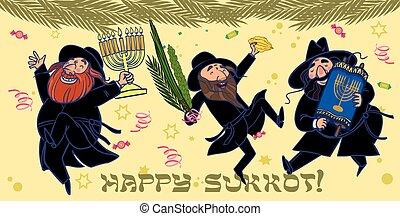 hombres, vector, ritual, sukkot., wiht, bailando, divertido, caricatura, judío, plantas, ilustración