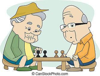 hombres, viejo, jugando al ajedrez