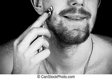 hombres, viruta, faces., close-up.